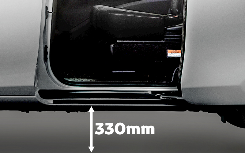 remarkable automatic sliding doors and 330mm  low-ground clearance